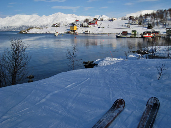 Ski touring by boat in Lingen Alps, Norway. Ski & sail.